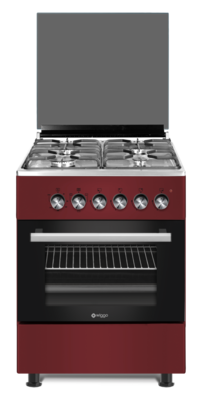 Wiggo WO-E603R(RX) Serie 3 - Gasfornuis - Rood Rvs