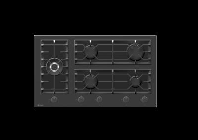 Wiggo WH-G935GR(B) - Inbouw gaskookplaat met Wok - 90cm - Zwart Glas