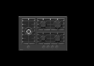 Wiggo WH-G735GR(B) - Inbouw gaskookplaat met Wok - 70cm - Zwart Glas