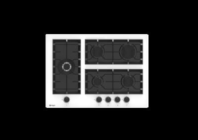 Wiggo WH-G735GR(W) - Inbouw gaskookplaat met Wok - 70cm - Wit Glas