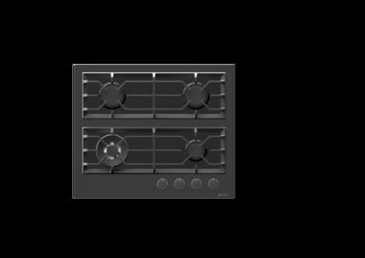 Wiggo WH-G634GR(B) - Inbouw gaskookplaat met Wok - 60cm - Zwart Glas
